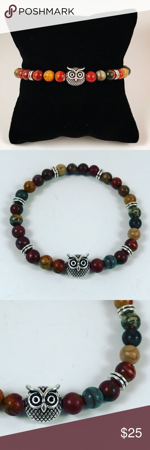 Women jasper beaded bracelet with owl charm Women beaded bracelet. Fits most , 5.5 to 7.5 inch wrist. Handmade by me , never worn by anyone. Made with natural picture jasper beads .Tibetan silver Owl charm and deco charms. I ship fast!!✈️ Bundle and save! ( 10 % off bundles) REASONABLE offers considered. Any questions let me know! NO PAYPAL ! Jewelry Bracelets