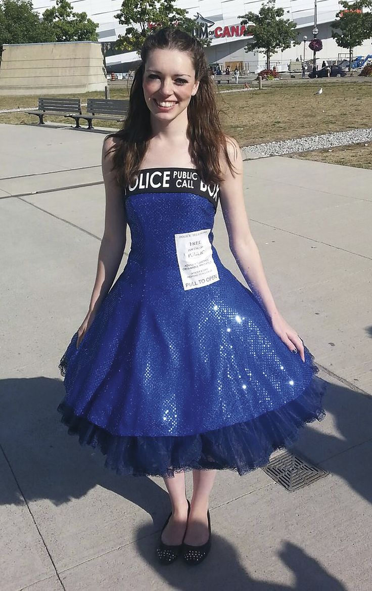 Tardis cosplay. A big crinoline and some iron transfer paper for the door sign along with some black fabric with iron on letters and volia - inspired from mental floss dresses -