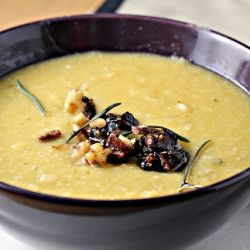 Rosemary white bean soup topped with a fig walnut tapenade.