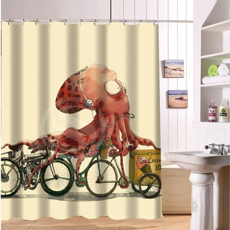 New Classical Design Bathroom Waterproof Modern Shower Curtain Print Art Vintage Octopus Bath Curtains 168x182cm