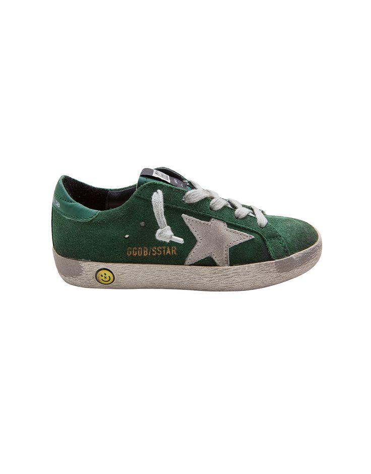 GOLDEN GOOSE DELUXE BRAND  Emerald Green Suede Superstar Sneakers