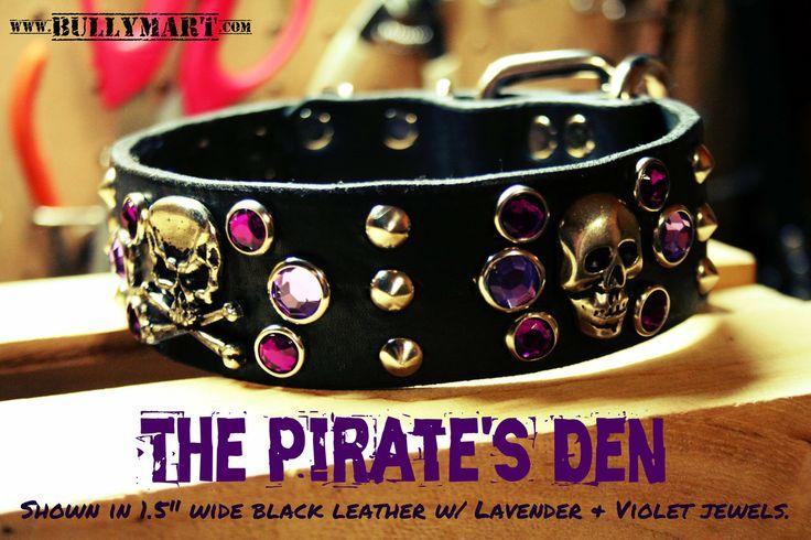 "Bully Mart - 1.5"" THE PIRATE'S DEN , $70.00 (http://stores.molossermart.com/custom-dog-collars/1-5-the-pirates-den/) #RockABullGear0314"