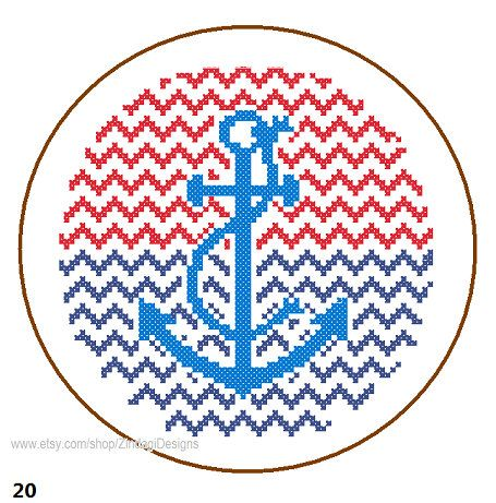 Instant Download Anchor Cross Stitch Pattern chevron background red blue wall art nautical cute card great gift