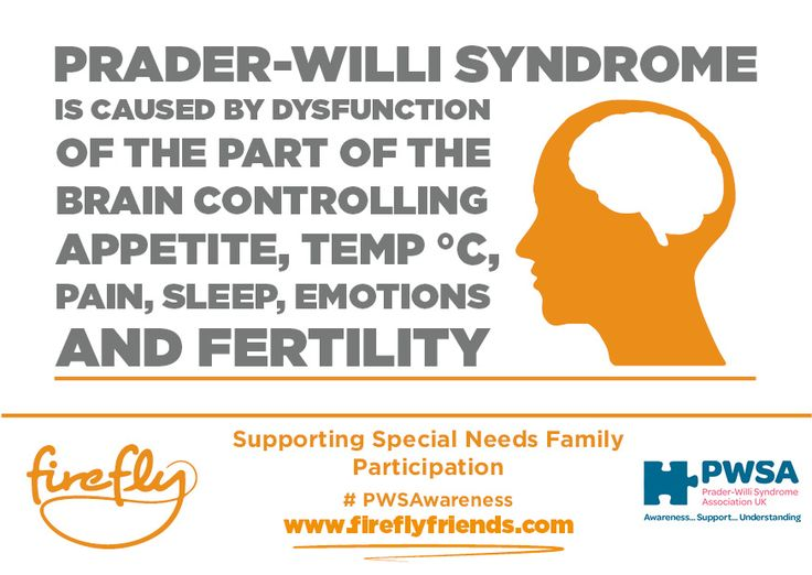 Prader - Willi syndrome is caused by dysfunction of the part of the brain controlling appetite, temperature, pain, sleep, emotions and fertility.  | Firefly | www.fireflyfriends.com