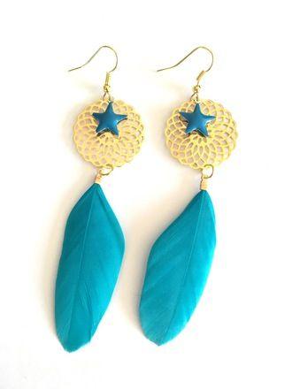 Boucles d'oreilles clips ou percées, plumes bleues estampes en forme de rosaces dorées et breloques étoiles bleu en email Epoxy  Possibilité d'adapter en clip sur demande lors  - 19075466