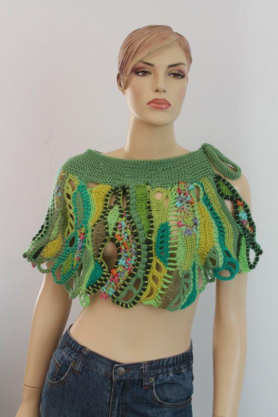 Зеленый Freeform крючком текстурой платок - наминка - юбка / искусство по волокну / OOAK