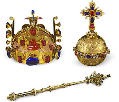 The Royal Insignia of the Kingdom of Bohemia with the St. Wenceslas Crown, dating from 1347 and King Karl IV of Bohemia, was made of 22K gold and set with 19 sapphires, 44 spinels, 1 ruby, 30 emeralds and 20 pearls. The royal orb and scepter are of much later manufacture and were ordered by Ferdinand I, grandfather of Rudolf II.