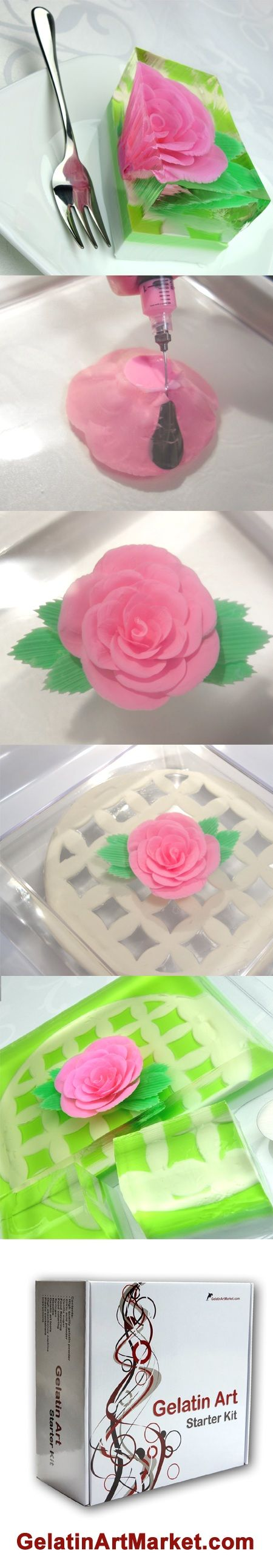 Learn how to make gelatin art flower cakes  https://gelatinartmarket.com/blogs/news/145422791-easy-gelatin-art-cake-background