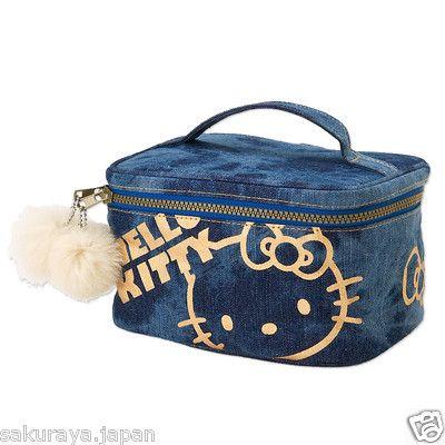 Hello Kitty Denim Vanity Case Cosmetic Pouch Makeup Bag Box Sanrio Japan F/S   eBay