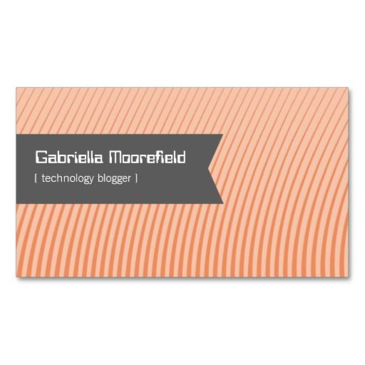 Tech Blogger Orange Contact Business Cards
