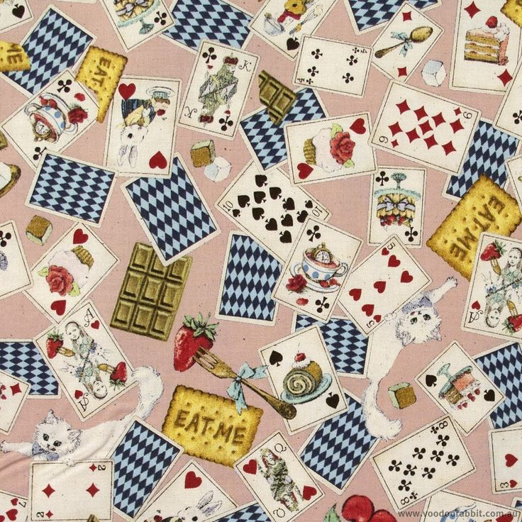 Cosmo Textiles Alice In Wonderland Playing Cards Pink 110cm (43-inch) Wide Cotton Fabric Meterage | Voodoo Rabbit Fabric, East Brisbane Australia