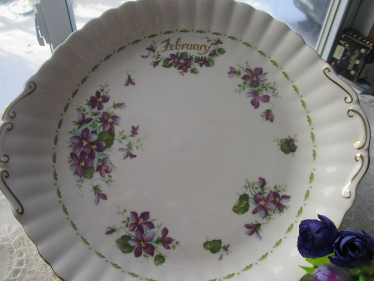 "Royal Albert ""February"" Plate,Purple Violet China, Royal Albert ""Flowers of the Month"", Royal Albert ""February"", Royal Albert Purple Violets by MyGrandmothersHouse on Etsy"
