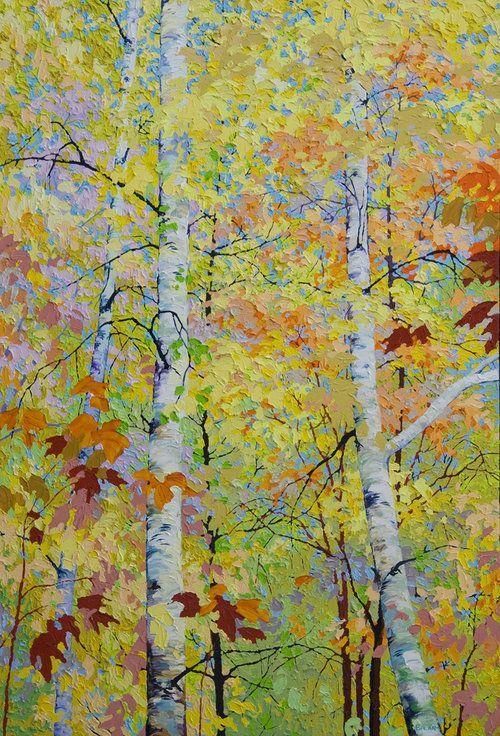 Autumn Birches I by Frank Balaam 44 x 30, oil #FrankBalaam