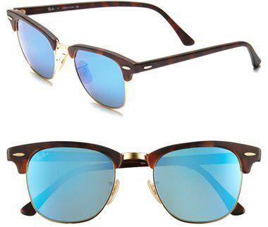 Men's Ray-Ban 'Flash Clubmaster' 51Mm Sunglasses - Tortoise/ Blue Mirror