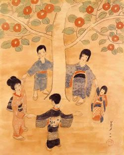 Okayama|岡山|Yumeji Art Museum|夢二郷土美術館|竹久夢二|童子 Doji    大正初期/絹本着色    作品に登場する愛らしい子どもたちも夢二作品には欠かせないモチーフです。  大きな椿の木の下で手をつなぐ子どもたちの姿は、幼い日の  夢二や妹の姿でしょうか。  夢二の生家から少し離れた母也須能(やすの)の里にも大きなやぶ椿の木があり、  この下で遊んだと、妹の栄は後に語っています。  子どもの頃に見た印象そのもののような、子ども達の顔ほどもある大きな椿の丸い花。  いきいきと咲く赤い花々は、元気な子ども達といっしょに遊んでいるようです。