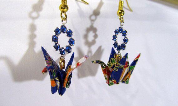 Boucle d'oreilles origami  grue  bleu & doré par iyoku sur Etsy
