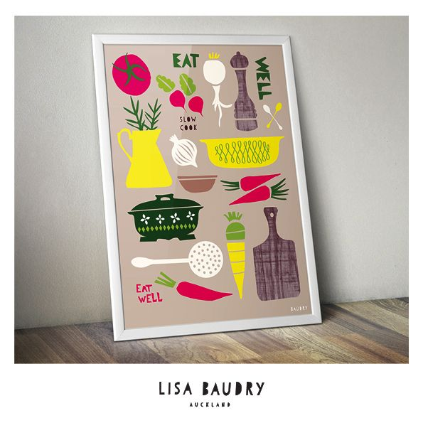 Food Illustration  Eat Well  - Slow Cook Poster by Lisa Baudry
