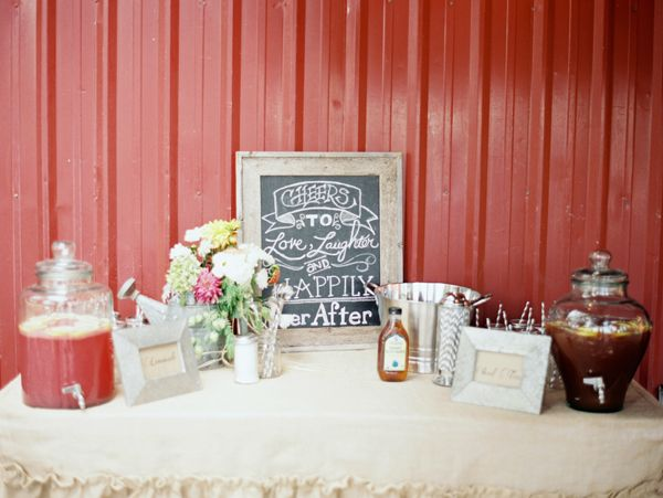 wedding drink table ideas...especially love the sign