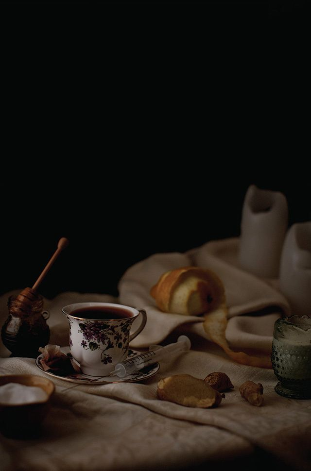 Henry Hargreaves's Photos of What Famous Musicians Eat Backstage |  Prince - Coffee and tea setup, including honey, lemon, sugar, cream, fresh ginger root. Physician will be used to administer a B-12 injection.