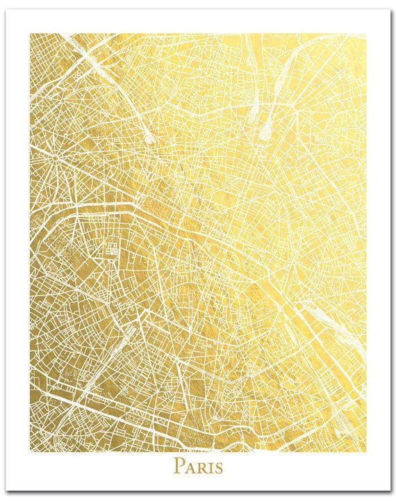 Parijs Print Parijs kaart Parijs goud folie door AdamsAleArtPrints