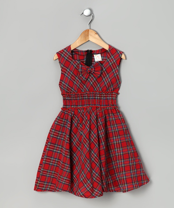 Just picked two of these up for the girls for Christmas - only 12 bucks a pop!! Red Plaid Bow Dress by Lele for Kids on #zulily