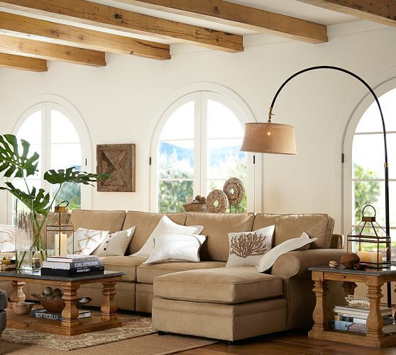 Pottery Barn Living Room With Carpet And Decorative Plant: Winslow Arc Sectional Floor Lamp