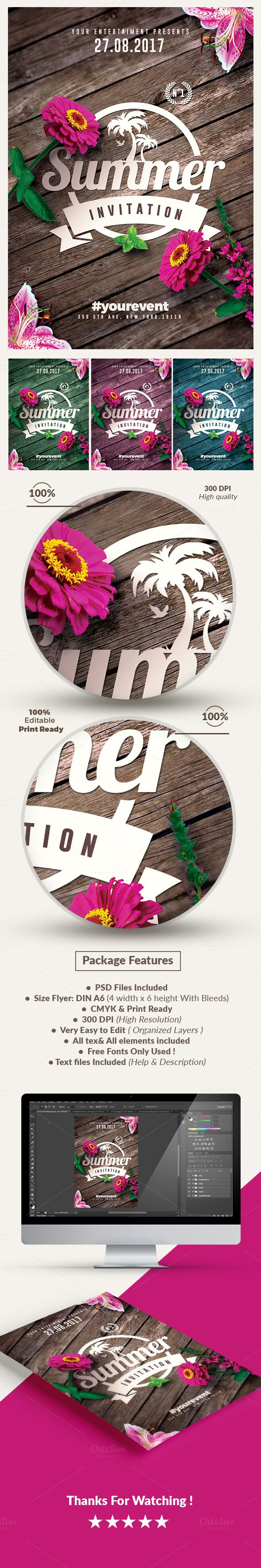 Amazing design ! Summer Invitations | Flyer Templates by @romecreation on @CreativeMarket #flyers #templates #summer #invitations #creative #graphics #posters #advertising #spring #party #flowers #flowerpower #wooden #wood #minimal #minimalist #invitation #romecreation #flyer #design