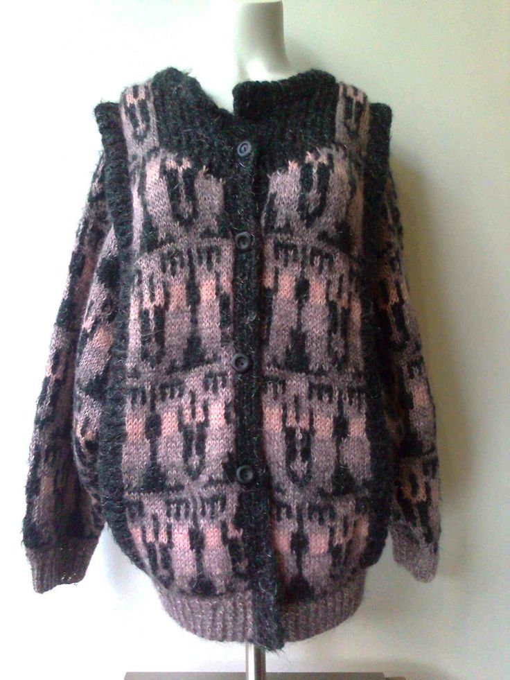 Handknitted vintage cardigan eighties with little sparkle, short boxy style size 36/38 €19