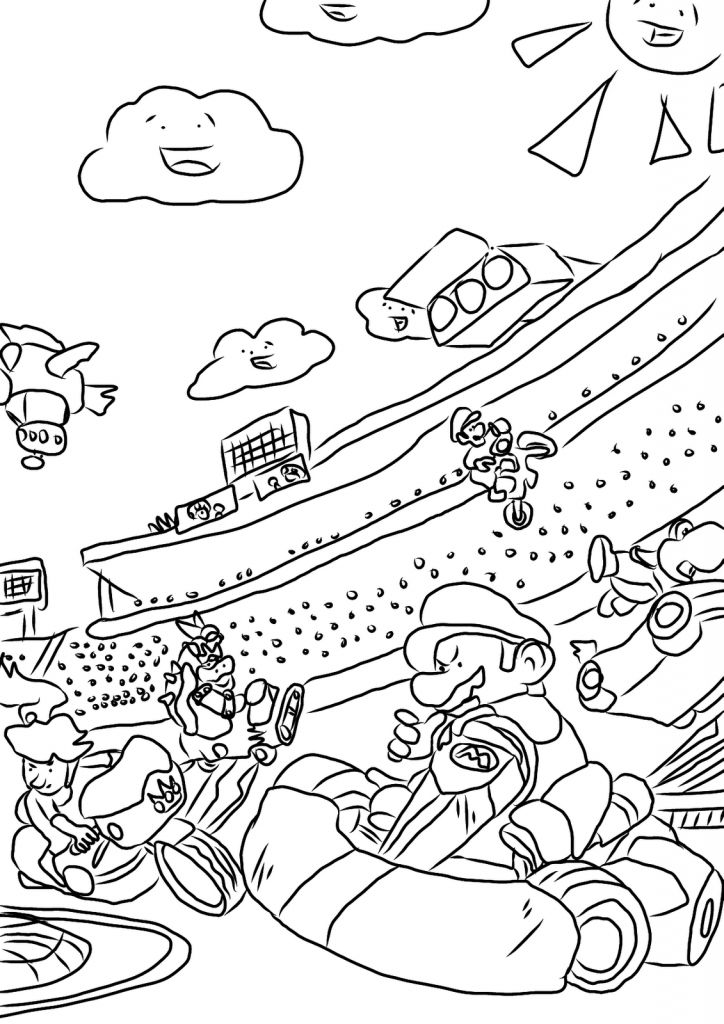 mario kart coloring pages - Nintendo Coloring Pages