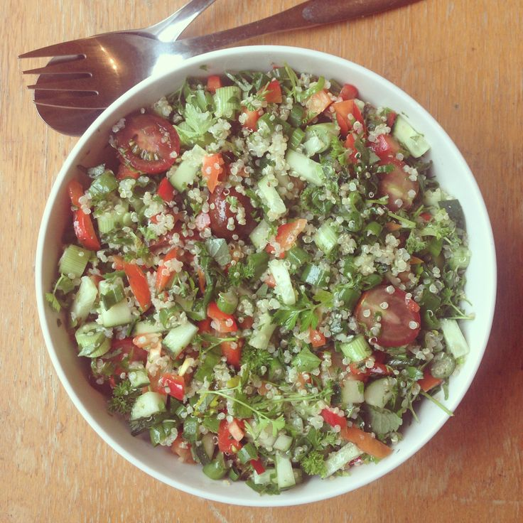 Summery Quinoa Tabboleh. Delicious Summer salad made from the best ingredients of the season. Quinoa is a good source of protein and alkalising salad dressing is good source of good fats.