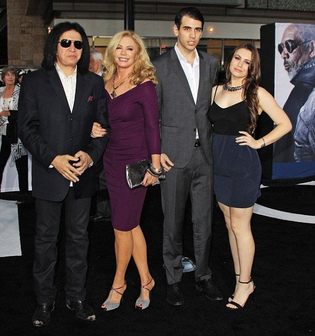 Gene Simmons, Shannon Tweed, Nick Simmons and Sophie Simmons at The Oblivion movie premiere in Hollywood, California