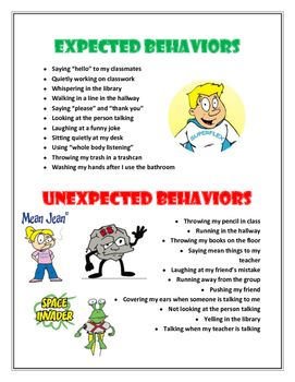 """This handout can be used to supplement a social skills lesson introducing """"expected"""" and """"unexpected"""" behaviors, which is part of the…"""