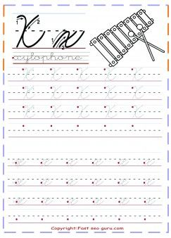 print out cursive handwriting tracing worksheets letter x for xylophone free…