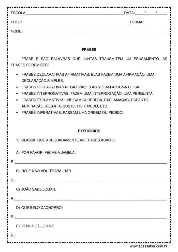Exercícios de língua portuguesa: Tipos de frases - 4º ou 5º ano