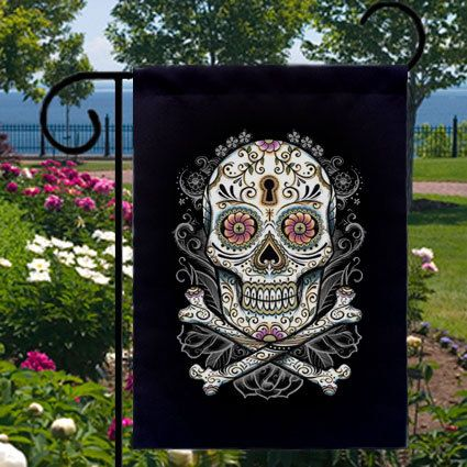 DIA DE LOS MUERTOS/DAY OF THE DEAD~ Sugar Skull New Small Garden Flag