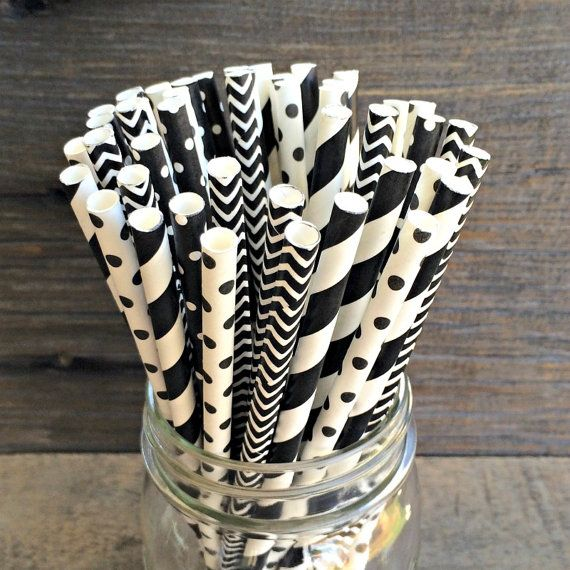 25 Black and White Combo Pack Straws, Over the HIll Party Supply, Birthday Party, Wedding Supply on Etsy, $3.75