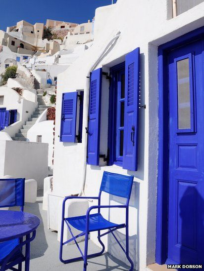 .~Blue and white house | The traditional colours of a Greek town house~. @adeleburgess