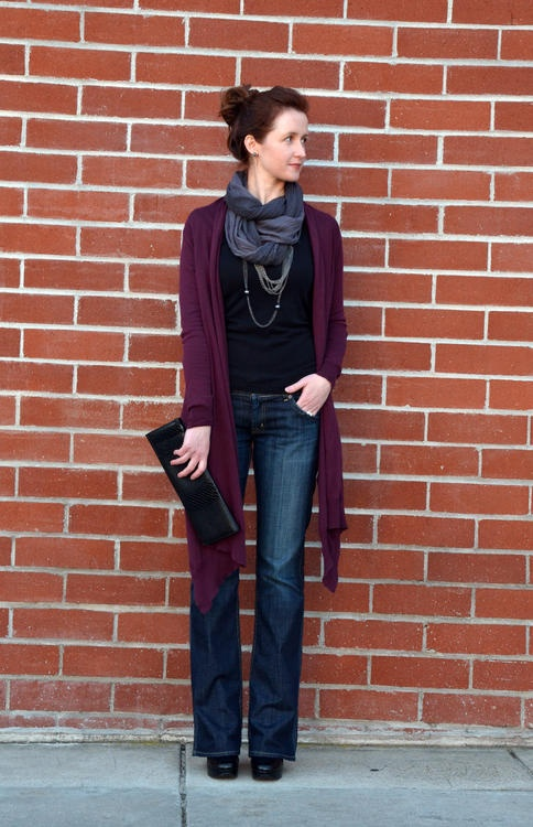 Work it for me- purple cardi, black top (any t-shirt style top, bootcut jeans, black boots