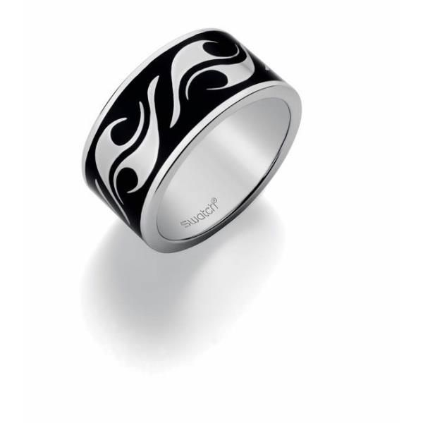 Anillo Swatch acero tribal negro