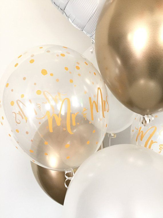 White And Gold Balloons Engagement Party Decor Mr Mrs Etsy