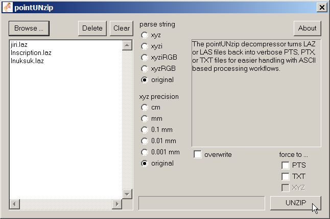 Pointzip: Compressing Leica's Cyclone PTS and PTX files with LASzip