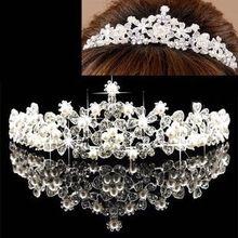 Envío gratis 2015 Gorgeous cristales De la aleación perlas accesorios De la boda novia Tiara De la corona De Flores 10603(China (Mainland))