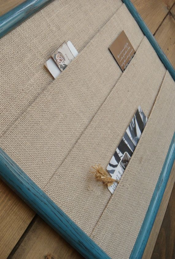 frame with layers of burlap to hold bills, mail...Could do this with any kind of fabric!!!