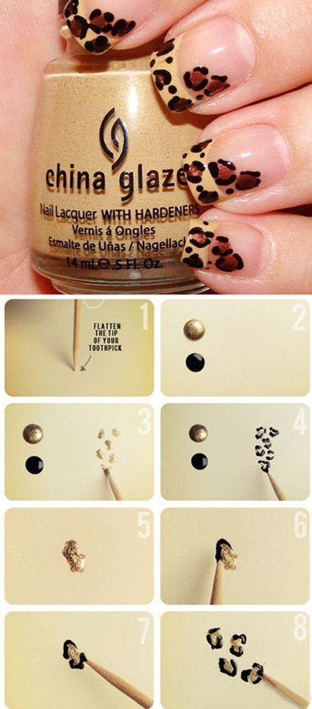 Uñas francesas de leopardo