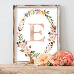 Monogram, Nursery Wall Art, Kids Wall Art, Blush Nursery, Baby Gift, Floral Wreath Letter, Woodland Nursery Art, gold foil, coral nursery