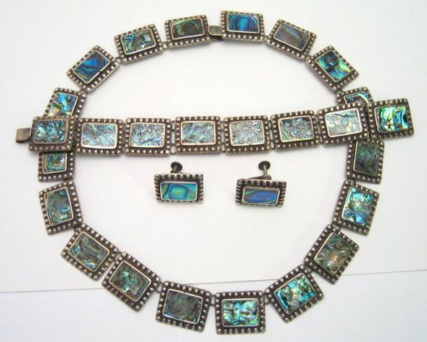 Mexican Imperial Sterling Abalone Parure*SOLD*
