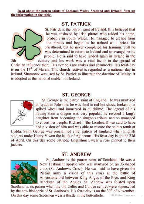 The texts about the patron saints of England, Wales, Scotland and Ireland worksheet - Free ESL printable worksheets made by teachers