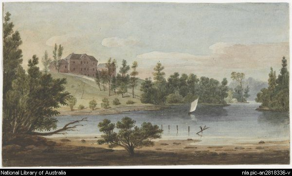 Earle, Augustus, 1793-1838.  Female Orphan School, Paramatta [i.e. Parramatta], N.S. Wales [picture]  [1825?] 1 watercolour ; 17.8 x 30.8 cm.  From National Library of Australia  http://nla.gov.au/nla.pic-an2818336  nla.pic-an2818336