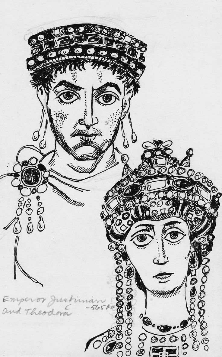 Justinian and Theodora coloring