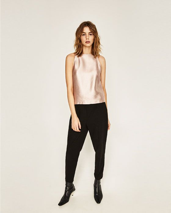 Image 1 of METALLIC HALTER NECK TOP from Zara